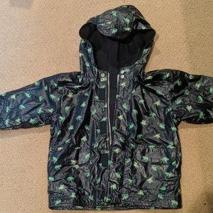 NWOT Hooded Rain Jacket Navy w/ Green Frogs